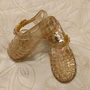 Cat & Jack Gold Glitter Jellies - 9/10